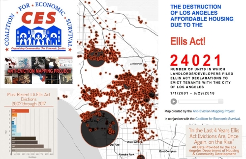 Map Of Ellis Act Evictions In Los Angeles Coalition For Economic
